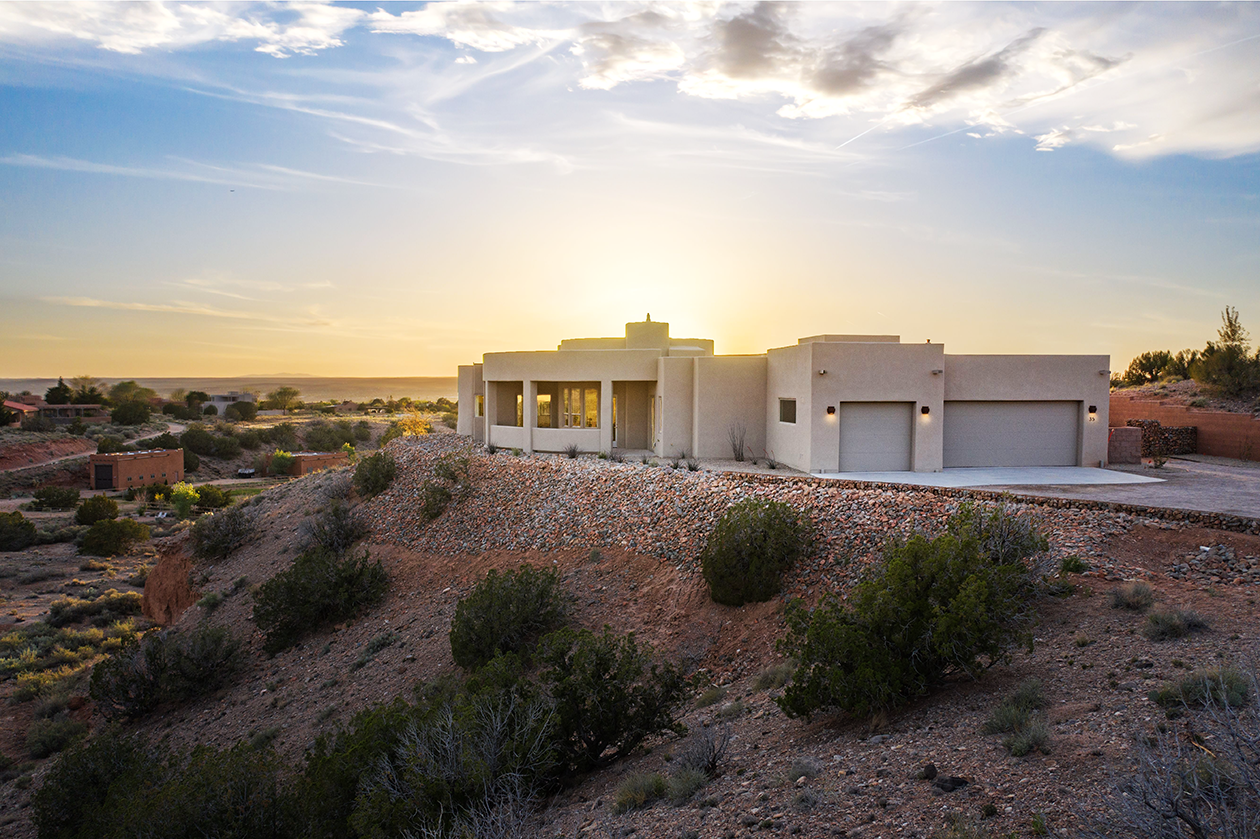 Dusk in New Mexico - Southwestern Home on Cliffside
